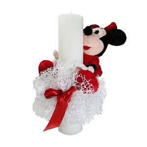 Lumanare de botez pentre fete cu jucarie Minnie Mouse